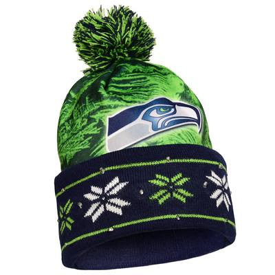 Seattle Seahawks Official NFL Big Logo Light Up Printed Beanie