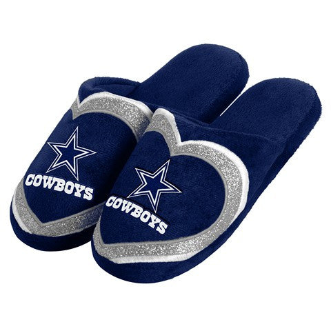 Dallas Cowboys Official NFL Womens Glitter Slide Slippers