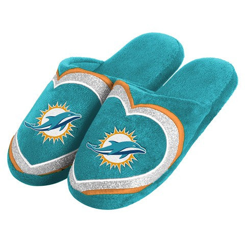 Miami Dolphins Official NFL Womens Glitter Slide Slippers