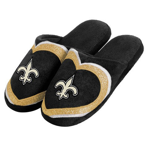 New Orleans Saints Official NFL Womens Glitter Slide Slippers