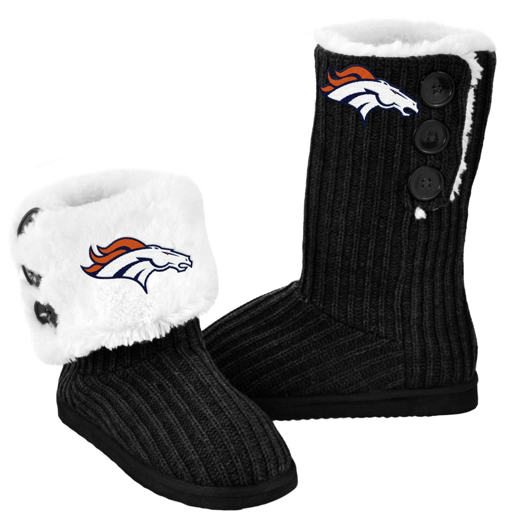 Denver Broncos Official NFL Ladies Knit High End Button Boot Slippers
