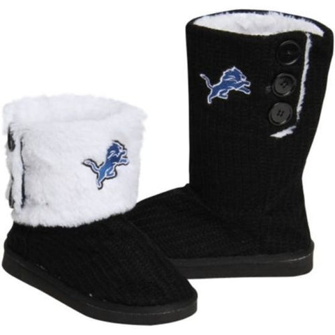 Detroit Lions Official NFL Ladies Knit High End Button Boot Slippers