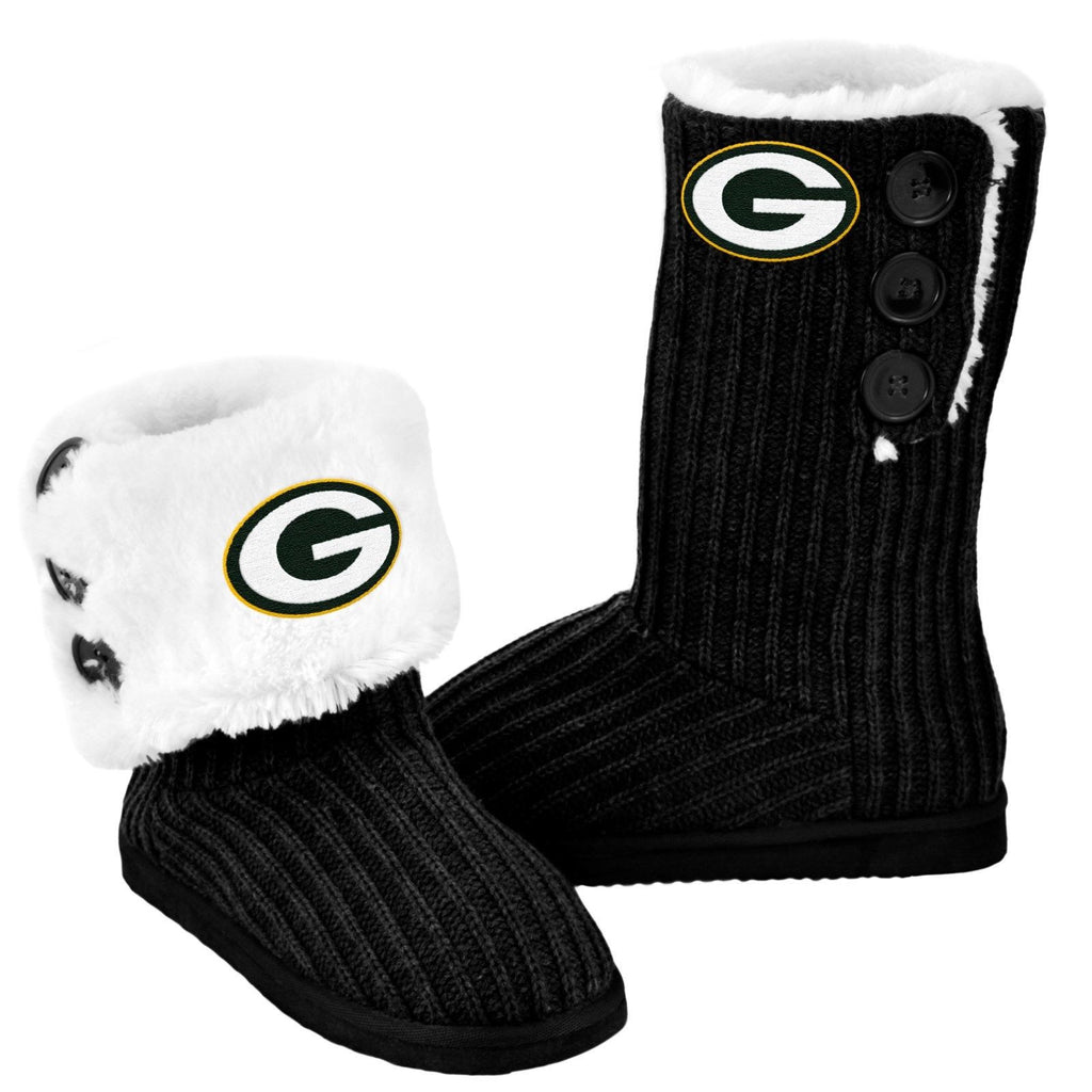 Green Bay Packers Official NFL Ladies Knit High End Button Boot Slippers