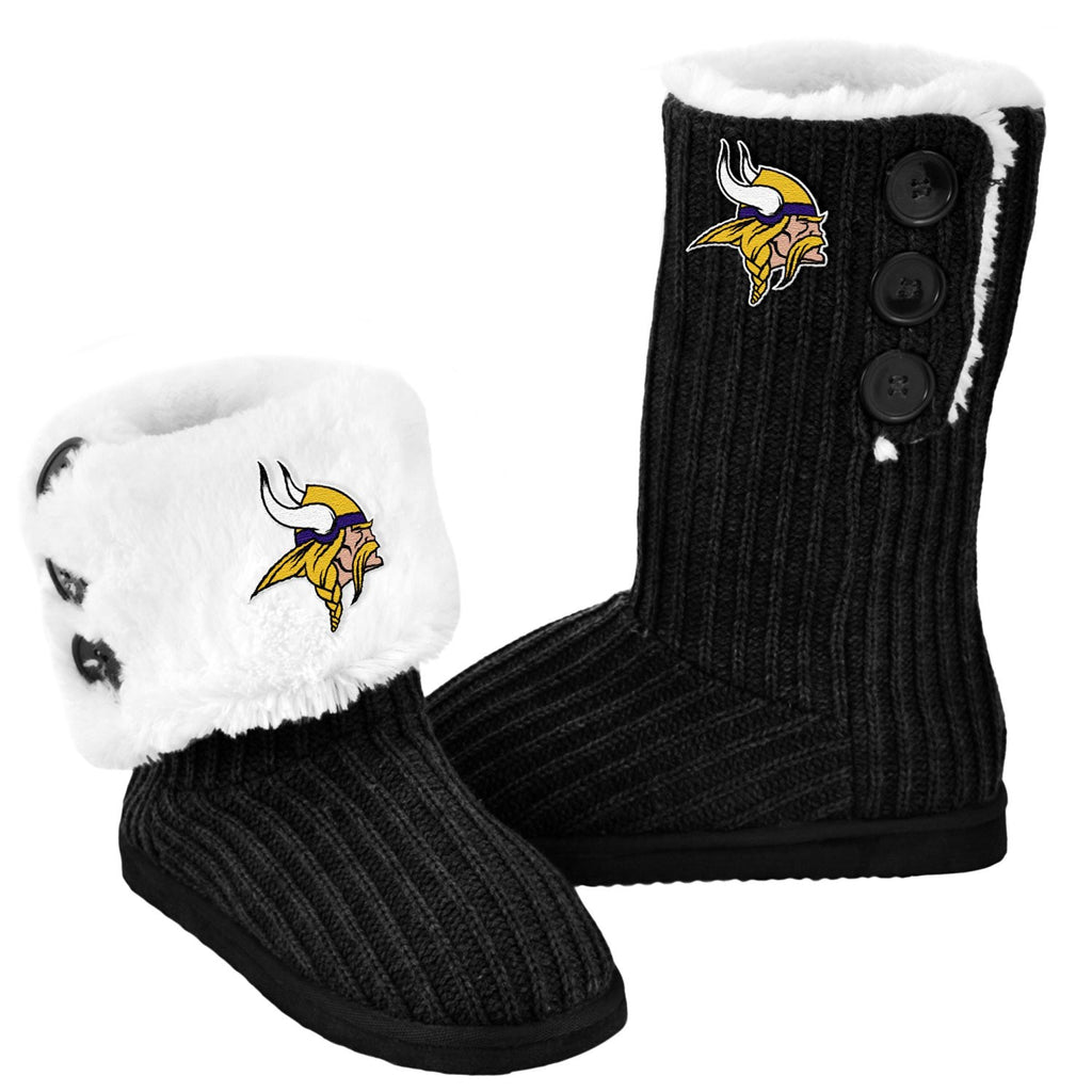 Minnesota Vikings Official NFL Ladies Knit High End Button Boot Slippers