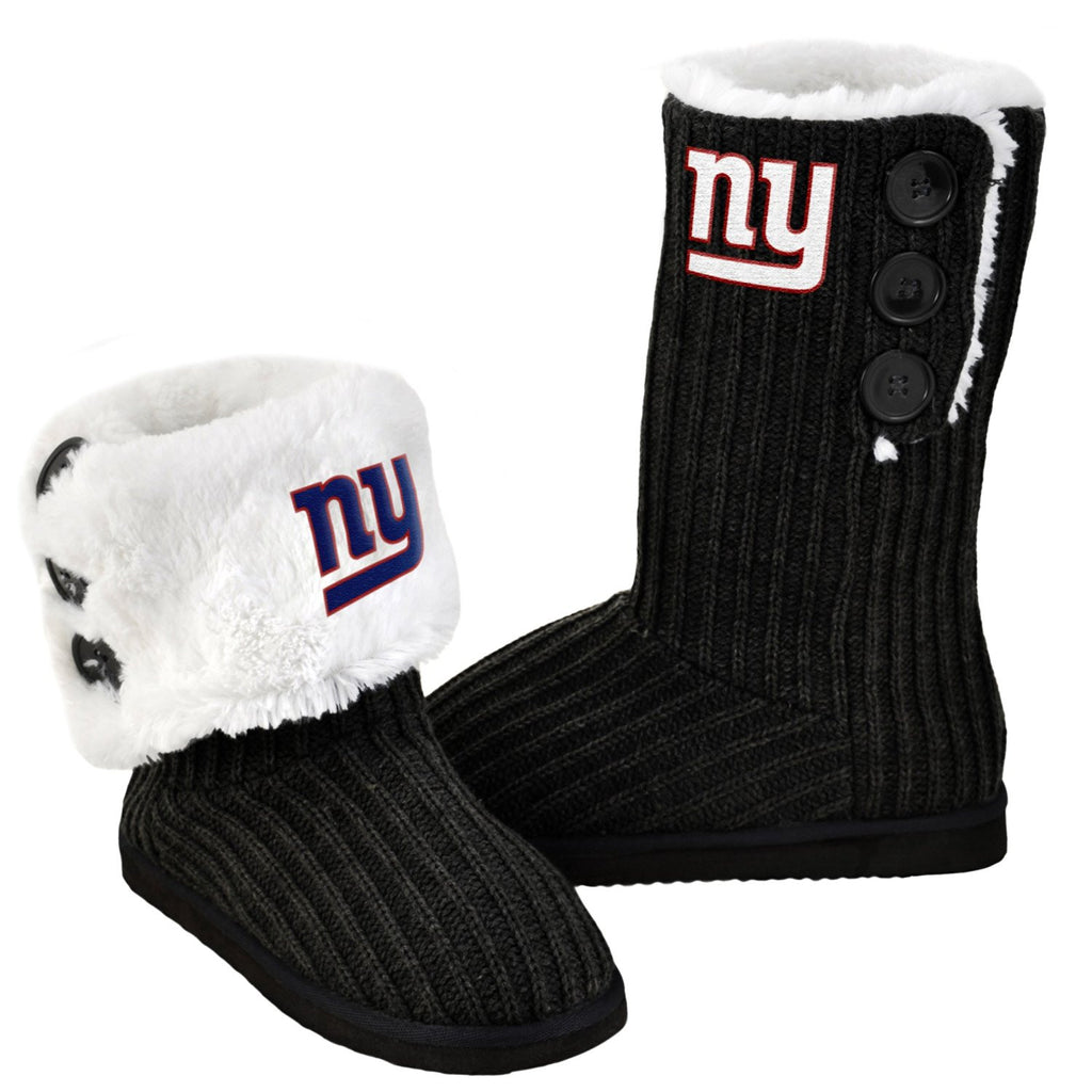 New York Giants Official NFL Ladies Knit High End Button Boot Slippers