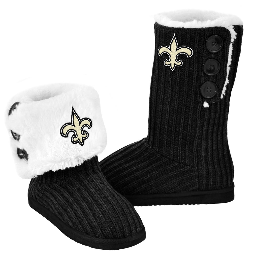 New Orleans Saints Official NFL Ladies Knit High End Button Boot Slippers