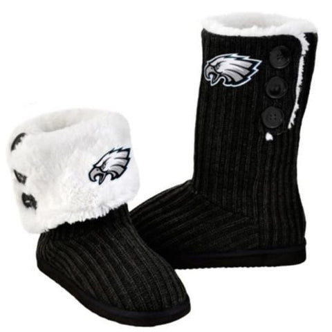 Philadelphia Eagles Official NFL Ladies Knit High End Button Boot Slippers
