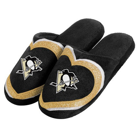 Pittsburgh Penguins Official NHL Womens Glitter Slide Slippers
