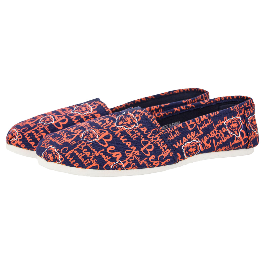 Chicago Bears Script Canvas Shoe - Womens Official NFL Womens Canvas Slip-on Shoes