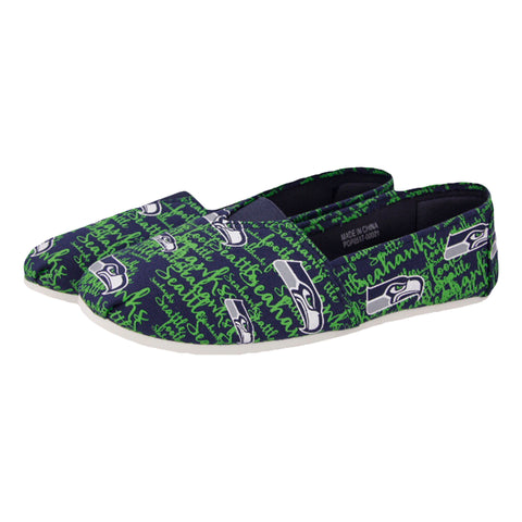 Seattle Seahawks Script Canvas Shoe - Womens Official NFL Womens Canvas Slip-on Shoes