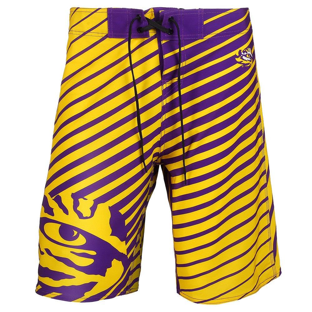 LSU Official NCAA Stripes Boardshorts