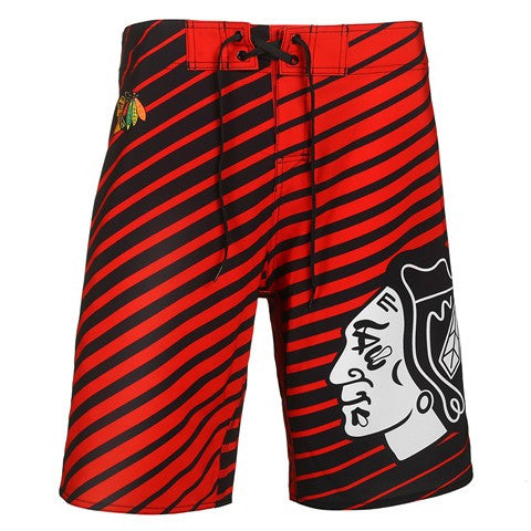 Chicago Blackhawks Official NHL Stripes Boardshorts