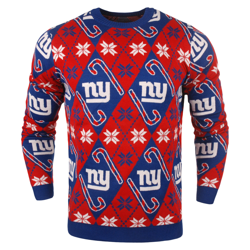 New York Giants - Mens Official NFL Candy Cane Repeat Crew Neck Sweater