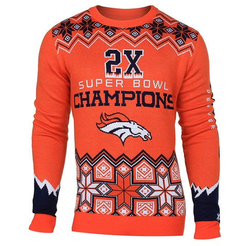 Denver Broncos Official NFL Super Bowl Commemorative Crew Neck Sweater