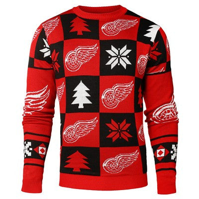 Detroit Red Wings Official NHL Patches Ugly Crew Neck Sweater (PRE-ORDER EXPECTED TO SHIP MIDDLE OF SEPTEMBER)