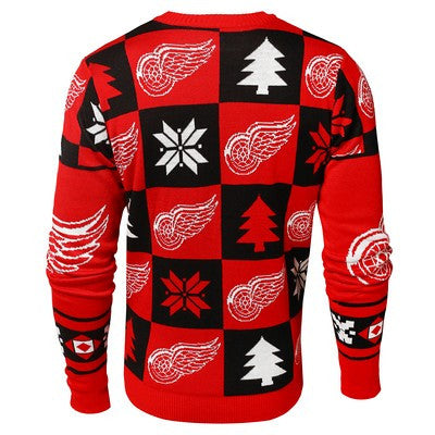 Detroit Red Wings Official NHL Patches Ugly Crew Neck Sweater