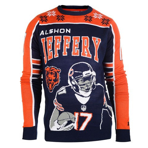 Chicago Bears Jeffery A. #17 Official NFL 2015 Player Ugly Sweater