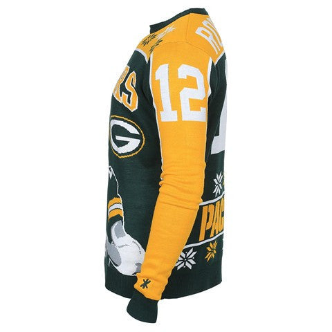 Green Bay Packers Rodgers A. #12 Official NFL Player Ugly Sweater