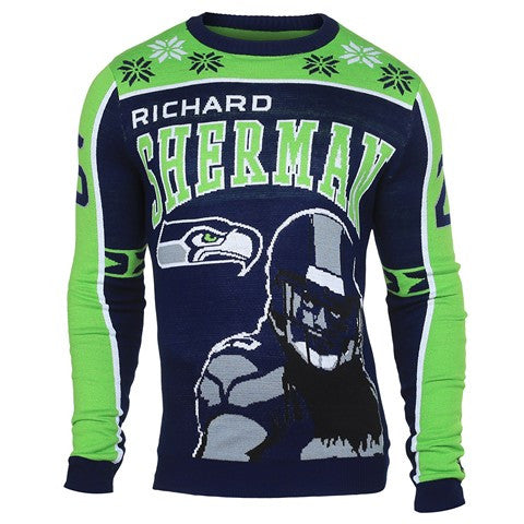 Seattle Seahawks Sherman R. #25 Official NFL 2015 Player Ugly Sweater