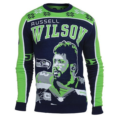Seattle Seahawks Wilson R. #3 Official NFL 2015 Player Ugly Sweater