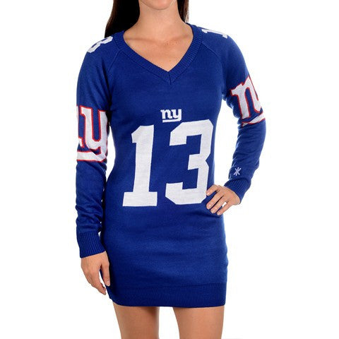 New York Giants Beckham O. #13 Official NFL Ugly Sweater Dress