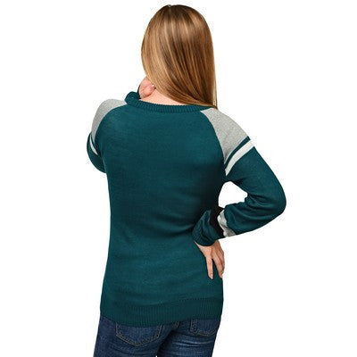 Philadelphia Eagles Official NFL Glitter Scoop Neck Sweater