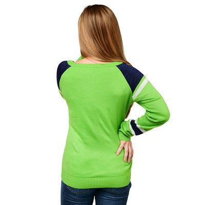 Seattle Seahawks Official NFL Glitter Scoop Neck Sweater