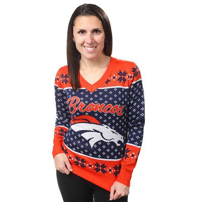 Denver Broncos Official NFL Big Logo V-neck Sweater (PRE-ORDER EXPECTED TO SHIP MIDDLE OF SEPTEMBER)
