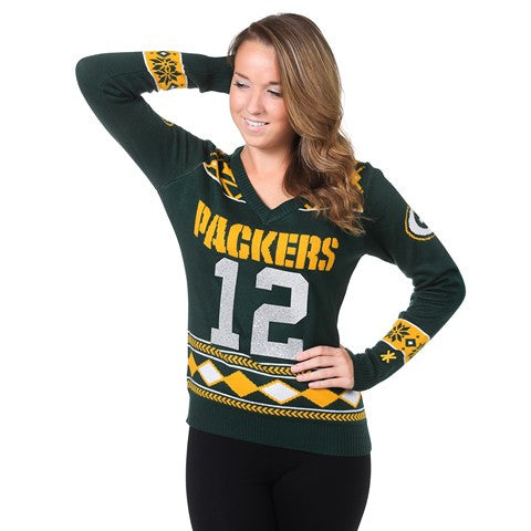 Green Bay Packers Rodgers A. #12 Official NFL Womens Glitter V-Neck Sweater