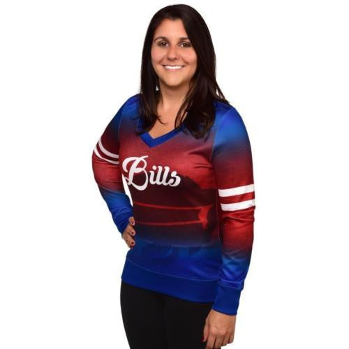 Buffalo Bills Official NFL Womens Printed Gradient V-neck Sweater