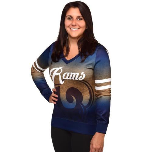 LOS ANGELES RAMS Official NFL Womens Printed Gradient V-neck Sweater