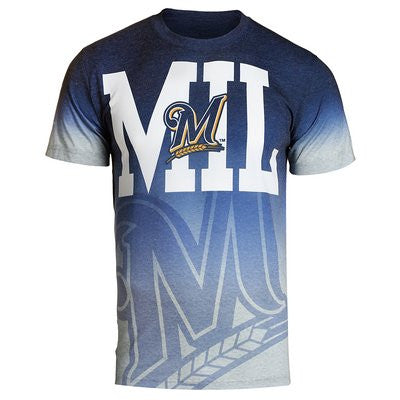Milwaukee Brewers Official MLB Gray Gradient Tee