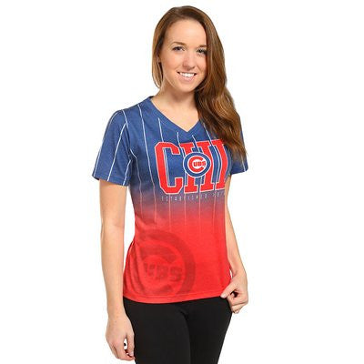 Chicago Cubs Official MLB Womens Gradient V Neck