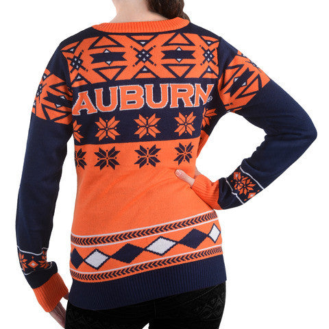 "Auburn Tigers Women's Official NCAA ""Big Logo"" V-Neck Sweater by Klew"