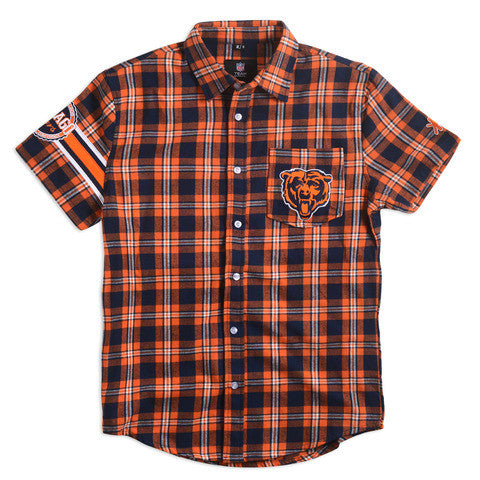 Chicago Bears Wordmark Short Sleeve Flannel Shirt by Klew