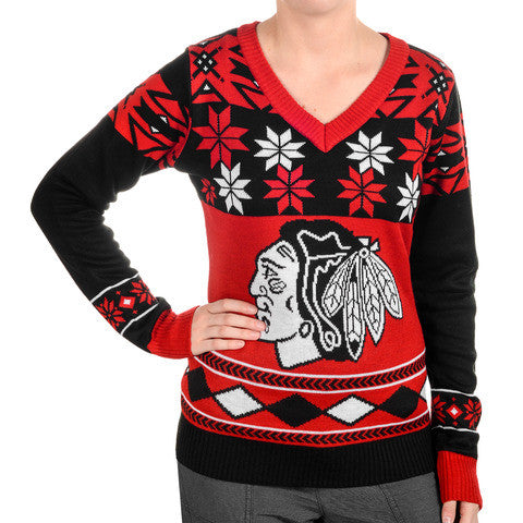 "Chicago Blackhawks Women's Official NHL ""Big Logo"" V-Neck Sweater by Klew"