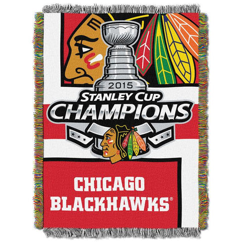 Chicago Blackhawks 2015 Stanley Cup Champions Tapestry Throw 48x60