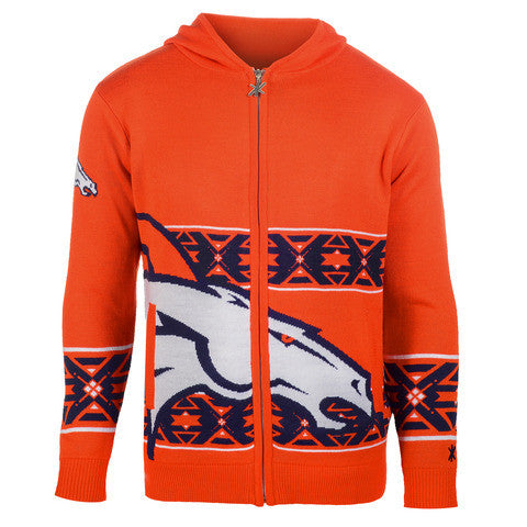 Denver Broncos Official NFL Full Zip Hooded Sweatshirt by Klew