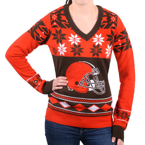 "Cleveland Browns Women's ""Big Logo"" V-Neck Sweater by Klew"