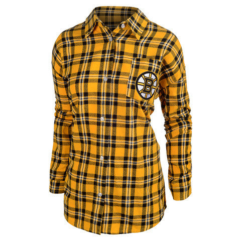 Boston Bruins Wordmark Long Sleeve Women's Flannel Shirt by Klew
