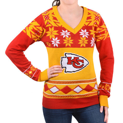 "Kansas City Chiefs Women's Official NFL ""Big Logo"" V-Neck Sweater by Klew"