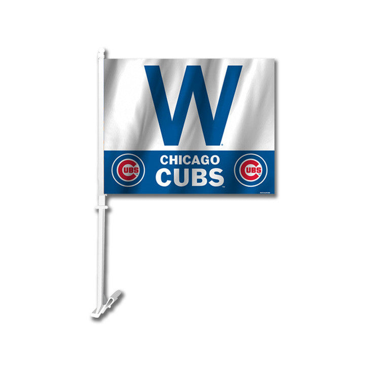 "CHICAGO CUBS ""W""  WITH LOGO CAR FLAG"