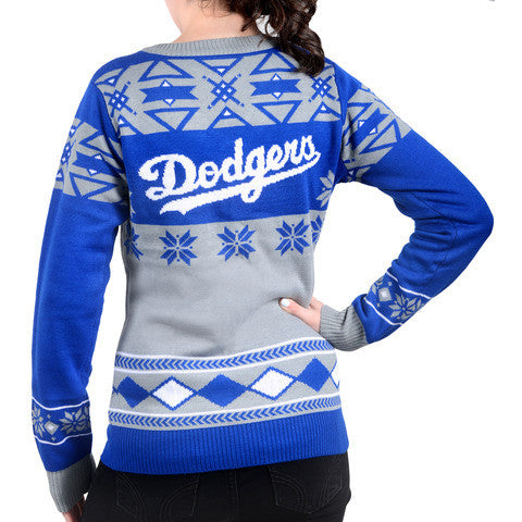 "LA Dodgers Women's Official MLB ""Big Logo"" V-Neck Sweater by Klew"