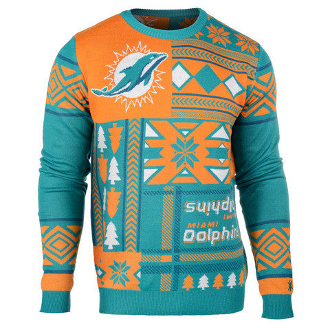 "Miami Dolphins Official NFL Men's ""Ugly Patches"" Sweater by Klew"