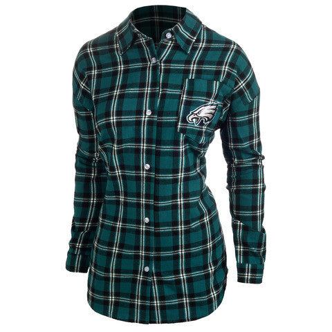 Philadelphia Eagles Wordmark Long Sleeve Women's Flannel Shirt by Klew