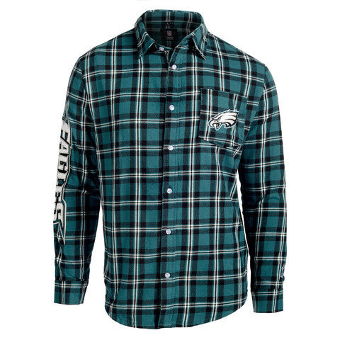 Philadelphia Eagles Wordmark Long Sleeve Flannel Shirt by Klew