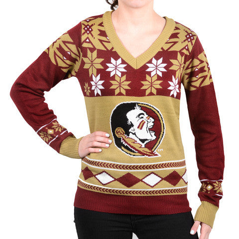 "Florida State Women's Official NCAA ""Big Logo"" V-Neck Sweater by Klew"