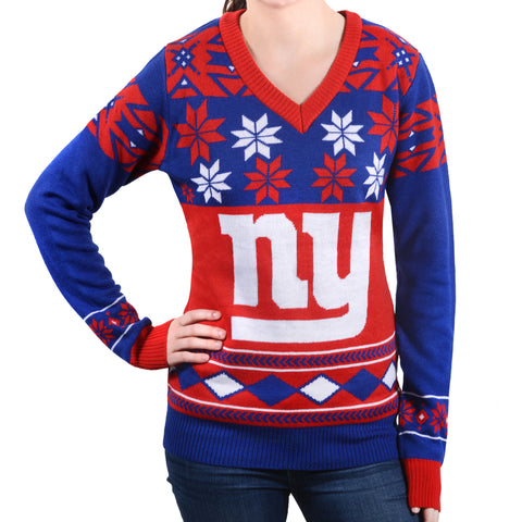"New York Giants Women's Official NFL ""Big Logo"" V-Neck Sweater by Klew"