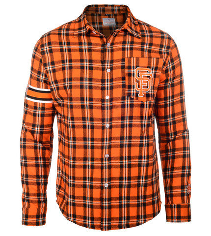 San Francisco Giants Wordmark Long Sleeve Flannel Shirt by Klew