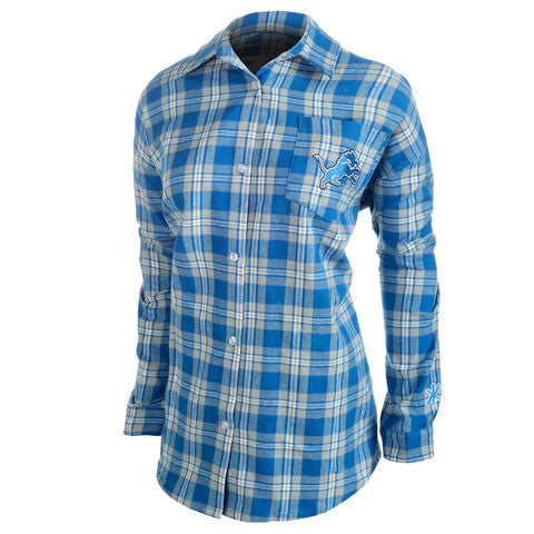 Detroit Lions Wordmark Long Sleeve Women's Flannel Shirt by Klew